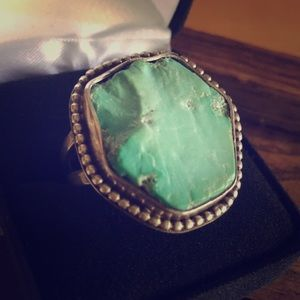 Vintage Sterling Silver and Large Turquoise Ring